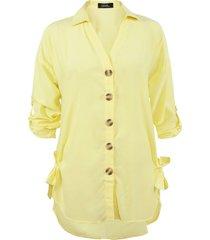 blusa nrg botones manga larga amarillo - calce regular