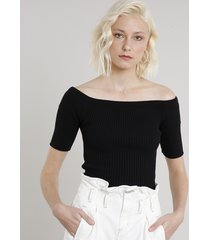 blusa feminina cropped em tricô ombro a ombro manga curta preta