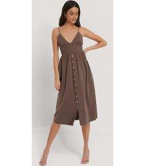 beyyoglu button detailed cotton dress - brown