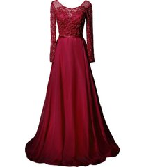 kivary sheer long sleeves a line women formal prom dresses beaded evening gowns