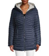 pajar women's reversible quilted fleece coat - navy - size xs