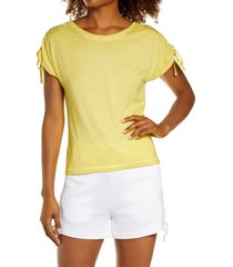 women's blanc noir ruched sleeve modal & cotton top, size medium - yellow
