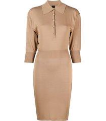 pinko fine-knit fitted dress - neutrals