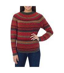 100% alpaca sweater, 'scarlet medley' (peru)