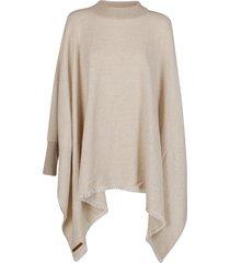 agnona white cashmere cape
