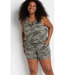 maurices plus size womens camo cozy super soft 5in shorts green