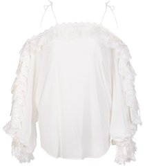 ermanno scervino white silk blouse with off shoulder and lace insert