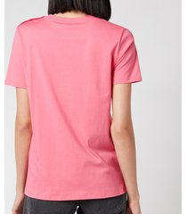 balmain women's 3 button flocked logo t-shirt - rose/blanc - l