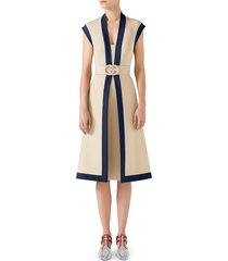 women's gucci contrast trim belted dress, size x-small - white