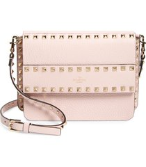 valentino garavani small rockstud leather shoulder bag - pink