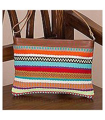 leather accent cotton blend shoulder bag, 'andean spirit' (peru)