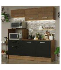 cozinha compacta madesa onix 180001 com armário e balcão rustic/preto/rustic cor:rustic/preto/rustic
