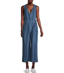 joie women's xenia striped linen & cotton sleeveless jumpsuit - deep ocean - size xxs