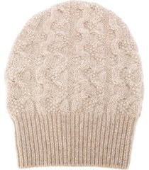 agnona cable knit cashmere beanie hat - neutrals