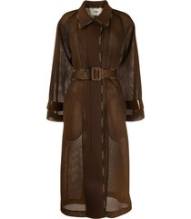 fendi mesh belted trench coat - brown