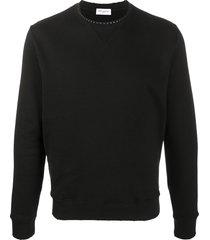 saint laurent stud-embellished sweatshirt - black