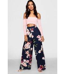bloeenprint broek met wijde pijpen en hoge taille, marineblauw