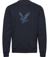 embroidered eagle sweatshirt sweat-shirt trui blauw lyle & scott