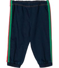gucci navy cotton blend track trousers