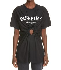 burberry virginia oversize cutout logo graphic tee, size x-small in black at nordstrom