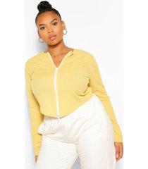 plus zip geribbelde cardigan longsleeve top, geel