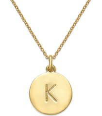 "kate spade new york 12k gold-plated initials pendant necklace, 17"" + 3"" extender"