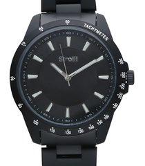 saint moritz orologio cronografo in acciaio nero con quadrante nero per uomo