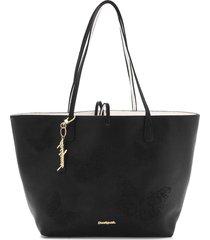 bolsa sacola desigual dupla face com necessaire preto