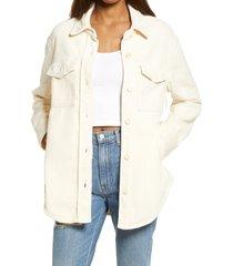 women's reformation women's jennings corduroy shirt jacket, size x-large - ivory