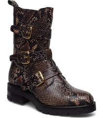 bikerboot shoes boots ankle boots ankle boots flat heel brun apair