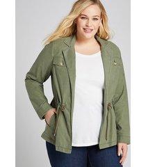 lane bryant women's cinched-waist utility jacket 28 dried sage