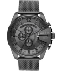 diesel men's chronograph mega chief gunmetal stainless steel mesh bracelet watch 51mm