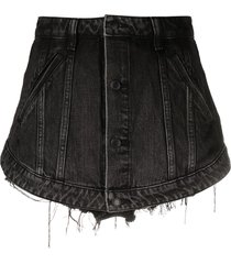 alexander wang cutaway denim skort - black