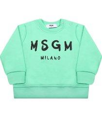 msgm mint green sweatshirt for babykids with logo