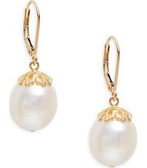 14k yellow gold & 11mm white oval freshwater pearl drop earrings