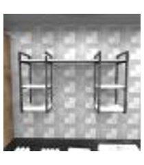 prateleira industrial lavanderia aço cor preto 120x30x68cm cxlxa cor mdf branco modelo ind29blav