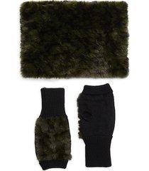 jocelyn 2-piece faux fur & wool-blend neck wrap & fingerless mitten set