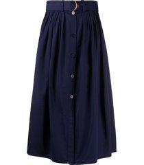 chloé belted midi cotton skirt - blue