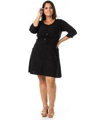 vestido evasê em viscose plus size confidencial extra feminino