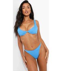 geribbeld laag uitgesneden string bikini broekje, blue
