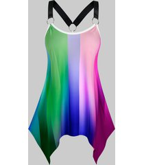plus size ombre striped ring linked handkerchief tank top