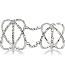 bernard delettrez designer rings, 18k white gold criss cross articulated ring w/diamonds pave