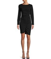 lea & viola women's ruched asymmetrical dress - black - size xs