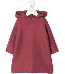 bonpoint hooded knitted dress - pink