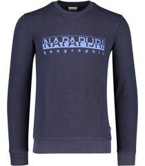 napapijri sweater ronde hals donkerblauw opdruk