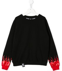 vision of super logo embroidered flame print sweatshirt - black