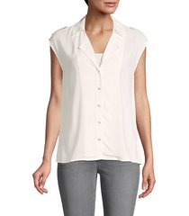 l'agence women's button-front notch collar top - ivory - size xs