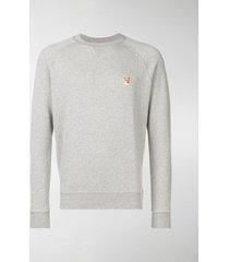 maison kitsuné grey fox head sweater