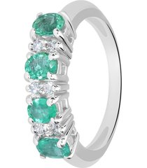 anello in oro bianco, smeraldi 1,1 ct e diamanti 0,12 ct per donna