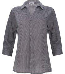 camisa mujer 3/4 a rayas color blanco, talla m